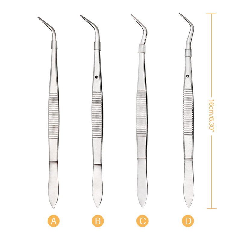 1pc Dental Surgical Tweezers Stainless Steel Serrated Curved Tweezer Pincers Forceps 4/Four Sizes Teeth Whitening Dentist Tools