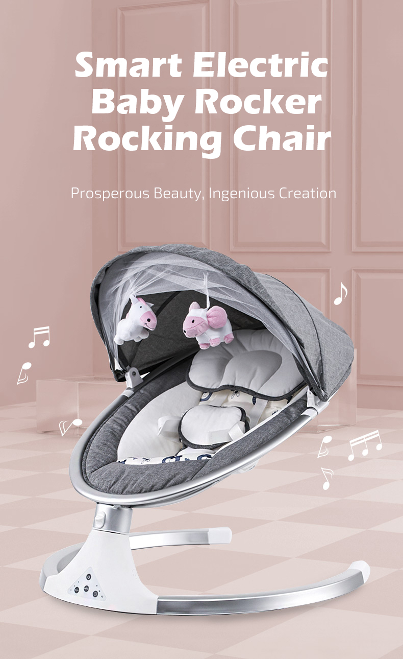 H93468e1faf1c4fb58f11036d6309330am Infant Shining Smart Baby Rocker Electric Baby Cradle Crib Rocking Chair Baby Bouncer Newborn Calm Chair Belt Remote Control
