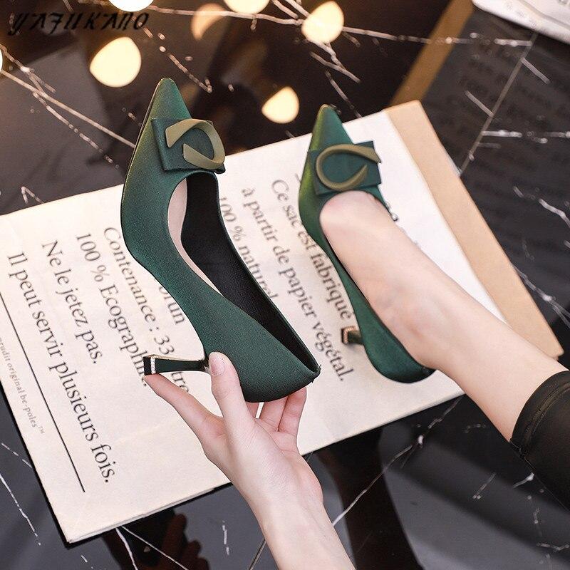 Luxurious Party Dress Women Shoes Autumn New French Style Satin Silk Thin High Heels Brand Design Rhinestone Heel Ladies Pumps