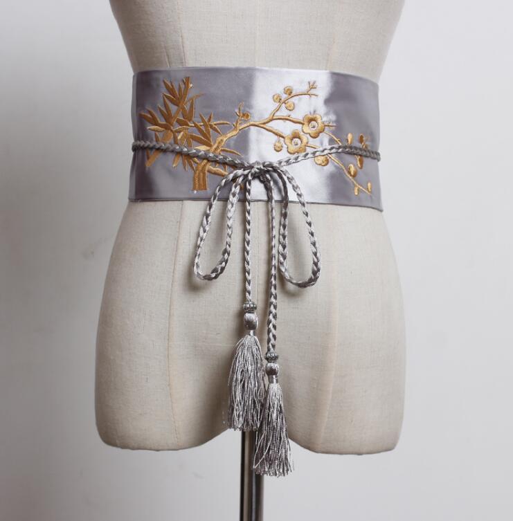 Women's Runway Fashion Embroidery Satin Cummerbunds Female Dress Corsets Waistband Belts Decoration Wide Belt R2255