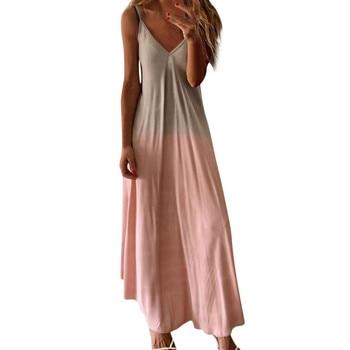 2021 Dress Women Casual Sleeveless Camisole V-neck Print Tank Long Dress Plus Size 5xl Vestidos Boho Hippie Chic Long Dress #SRN 1