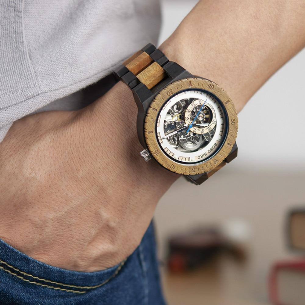Relogio Masculino BOBO BIRD Mechanical Watch Men Wood Wristwatch Automatic Customized Gift for Dad