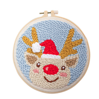 DIY Knitting Wool Rug Hooking Kit Handcraft Woolen Embroidery Creative Gift with 20cm Embroidery Frame Poke Needle   Fawn|DIY Knitting| |  -