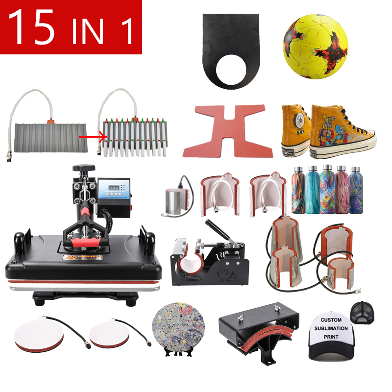 15 In 1 Combo Sublimation Pen Heat Press Machine T Shirt Heat Transfer Printer For Mug/Cap/Shoe/Phone Case/Pen/football/Keychain