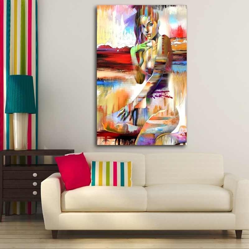 Abstract Colorful Girl Nordic Home Decor Wall Pictures for Living Room Garden Decoration Canvas Art Posters and Prints Paris