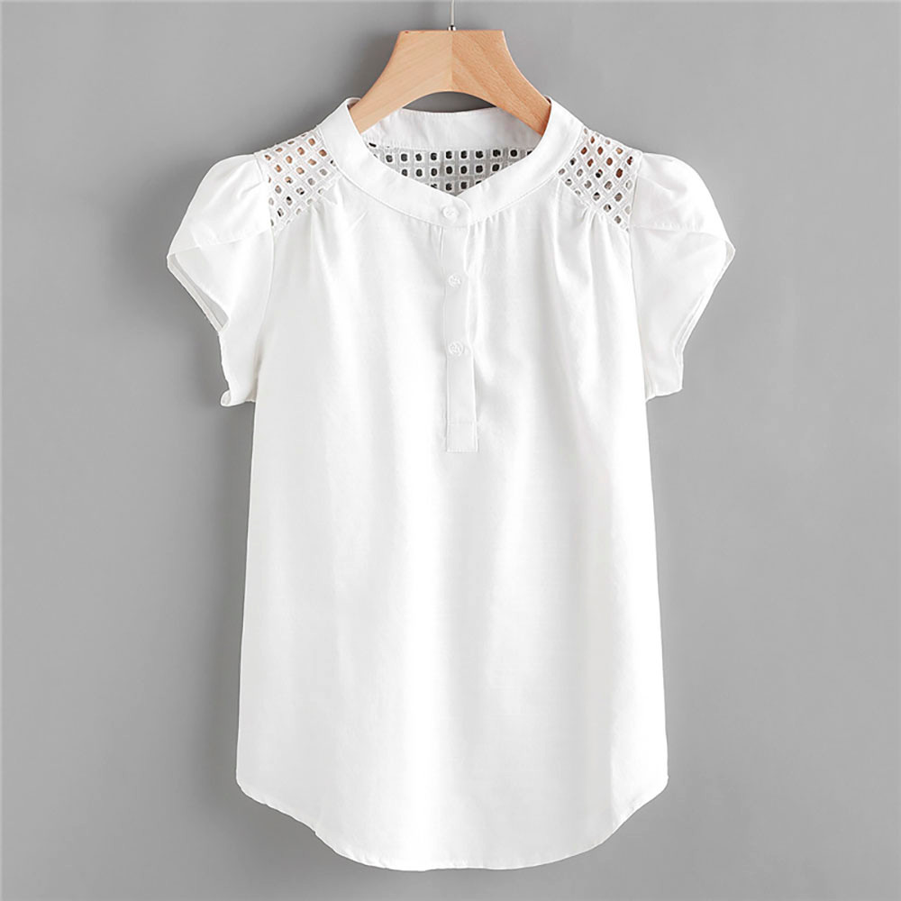 2021 Women's Shirts Women Solid O-Neck Hollow Out  Short Butterfly Sleeve Casual Tops Blouse женская одежда рубашка