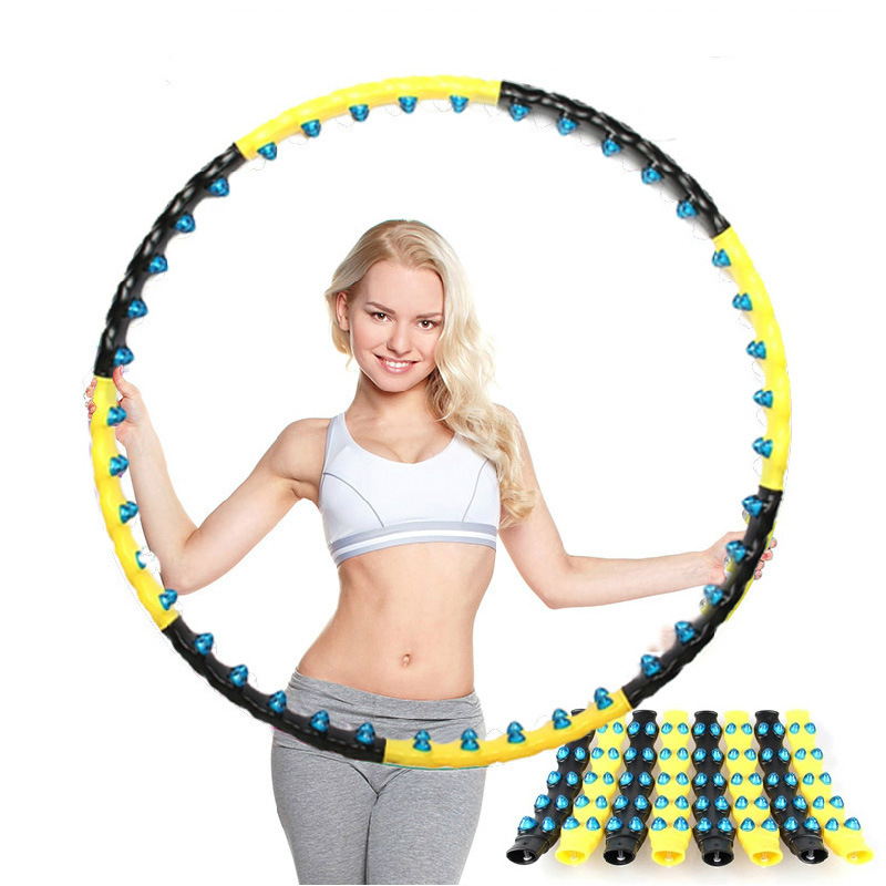 Women Outdoors Detachable 7/8 Parts Double Row Magnetic Fitness Hoop Easy To Install Fitness Massage Exercise Workout Sports