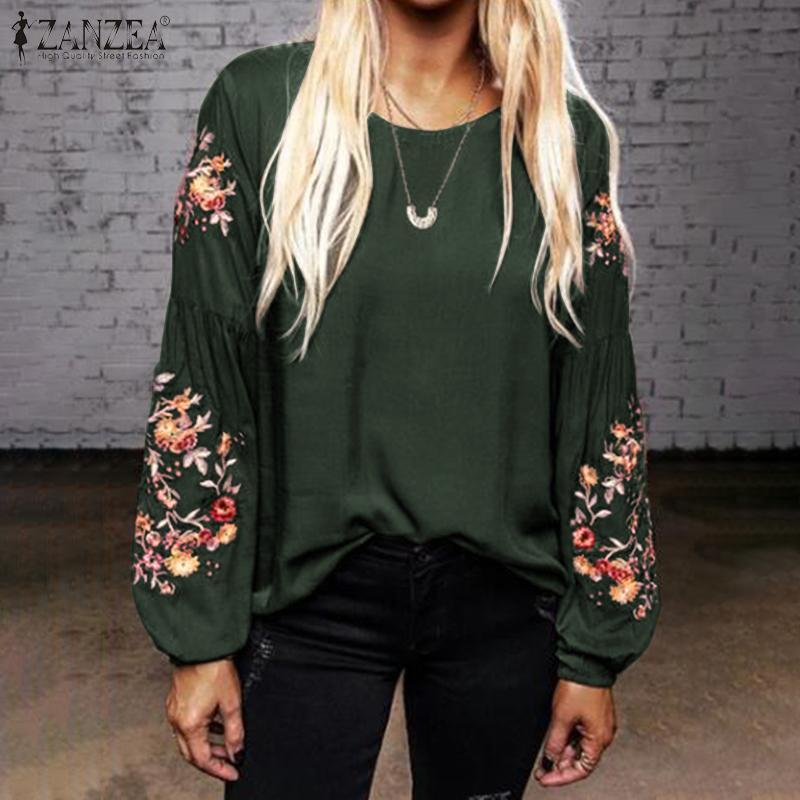 Blusas Top ZANZEA, Весенняя Цветочная блузка с вышивкой, винтажная, повседневная, для работы, офиса, туника, топы, для женщин, с длинным рукавом фонариком, женская рубашка|Блузки и рубашки|   | АлиЭкспресс