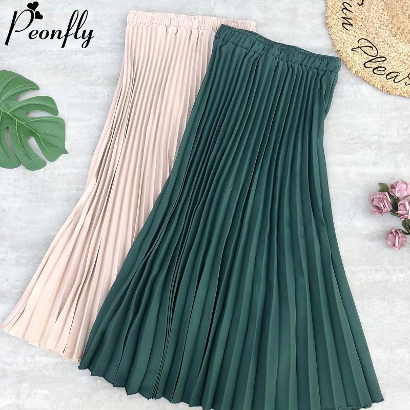 PEONFLY 2020 Spring Fashion Women's High Waist Chiffon Pleated Long Skirt Solid Color Mid Calf Elastic Skirt Lady Black Pink