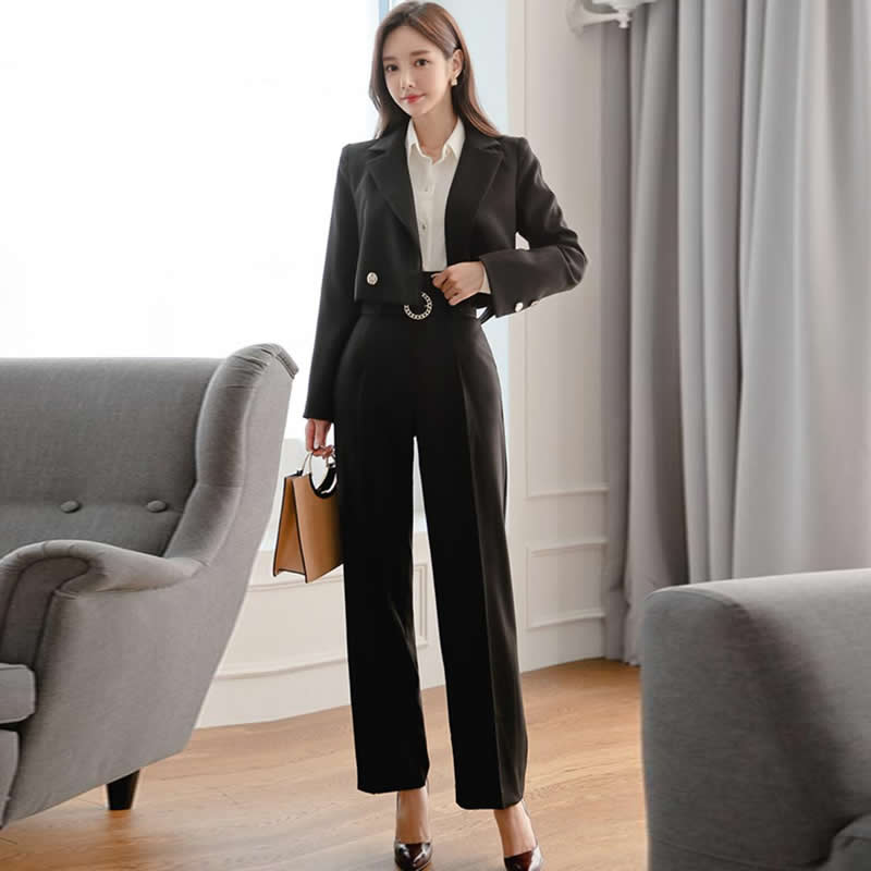 Autumn Notched Short Blazer Coat High Waist Sashes Straight Long Pant Women's Casual Two Piece Black Sets