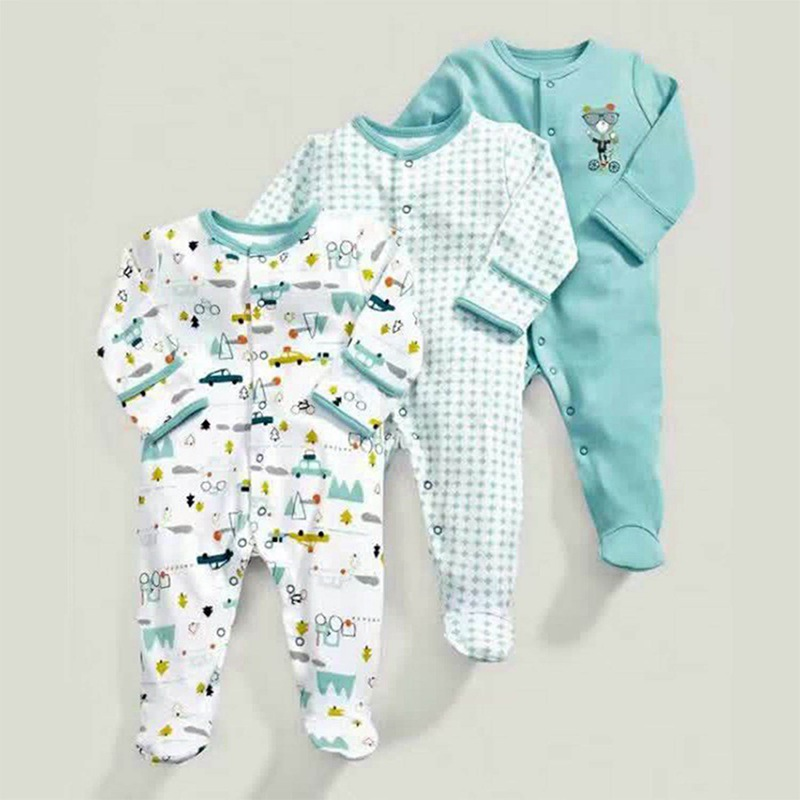 Spring And Autumn Models Ice Blue Squirrel Pattern Cotton Long-sleeved Baby Onesies Robes Romper 3 Sets 50cm(White & Light Gre