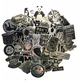 50 szt Metalowe czarno-białe naklejki rysowanie drutu Graffiti naklejki na laptopa bagaż Car Styling gitara wodoodporne naklejki tanie i dobre opinie AOSST CN (pochodzenie) 5-10cm PVC Waterproof 0 01 Black and White Stickers