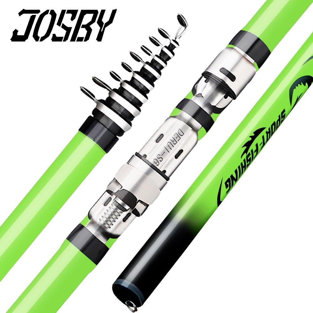 JOSBY 2020 NEW Rock Fishing Rod Carbon Fiber Telescopic Carp Pesca Pole Portable Spinning Travel Ultralight 3.6M 4.5M 5.4M 6.3M