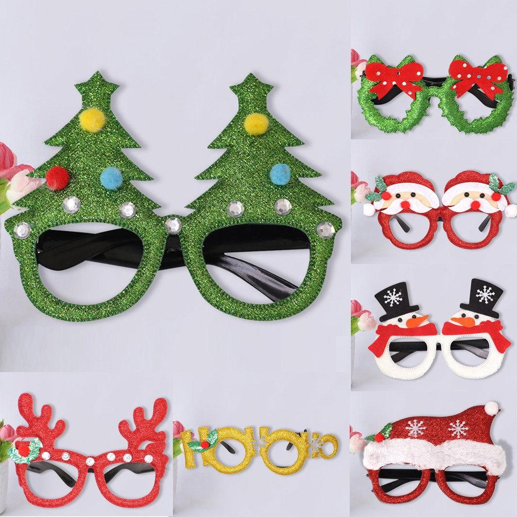 Navidad Niños Gafas Ornamento Santa Claus Ciervo Muñeco De Nieve Dibujos Animados Navidad Festival Fiesta Diy Suministros Niños Regalos 2018 Año Nuevo