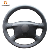 Hand stitched BlackGenuine leather Car Steering Wheel Cover Wrap for Volkswagen VW Passat B5 1996 2005 Golf 4 1998 2004