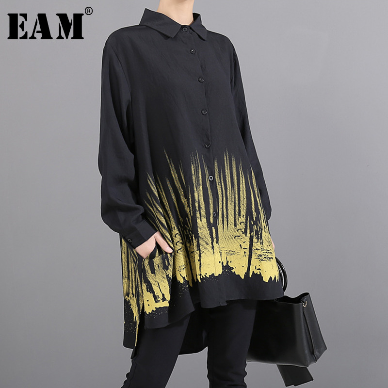 [EAM] Women Black Printed Back Long Big Size Blouse New Lapel Long Sleeve Loose Fit Shirt Fashion Spring Autumn 2020 1T431