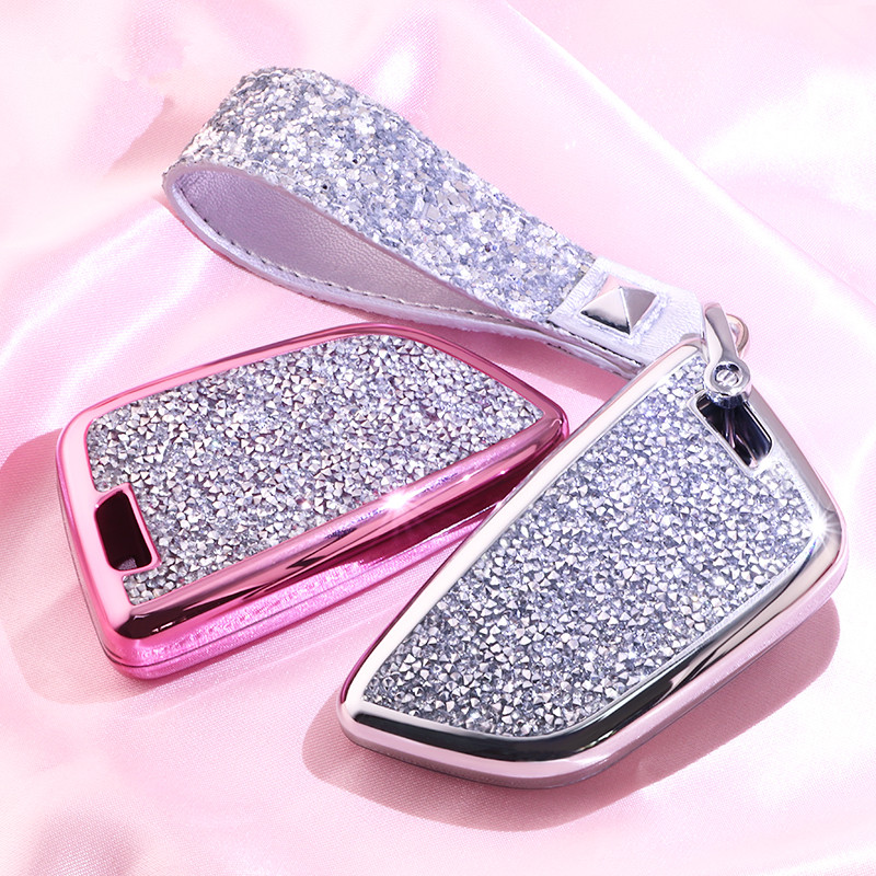 Diamond Luxury Car Key Case Cover Holder Keychain Shell Bag Remote Key for BMW 2 7 series X1 X5 X6 X5M X6M Gifts for Girls or Wo
