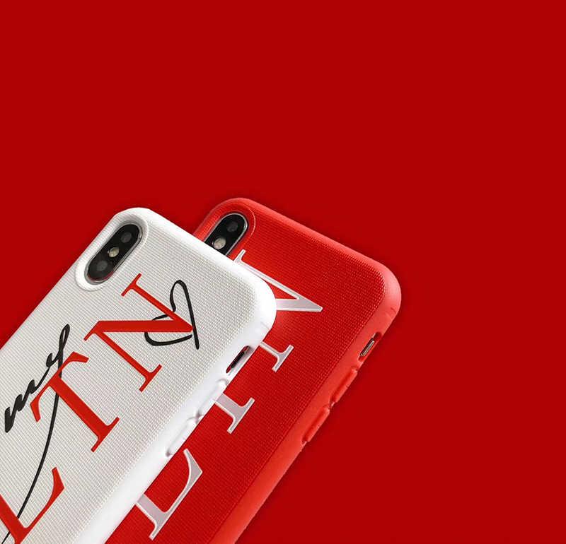 العلامة التجارية الفاخرة إيطاليا VLTN لينة سيليكون حافظة لهاتف أبل آيفون 6 7 7plus 8 8plus X XR XS max 11Pro ثلاثية الأبعاد الإغاثة TKY الهاتف كوكه