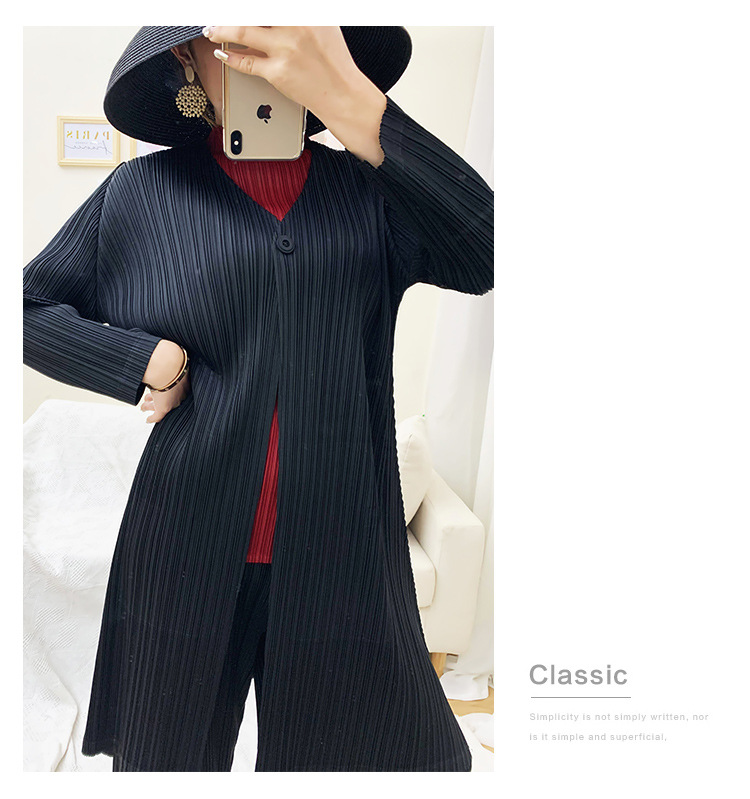 Miyake Pleated Trench Autumn Long Section Loose Large Size Pleated Simple Cardigan Coat Female Free Shipping