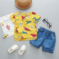BibiCola crianças recém-nascidas do bebê meninos roupas de verão conjuntos de roupas para o menino de manga curta camisetas + calça jeans legal shorts jeans terno