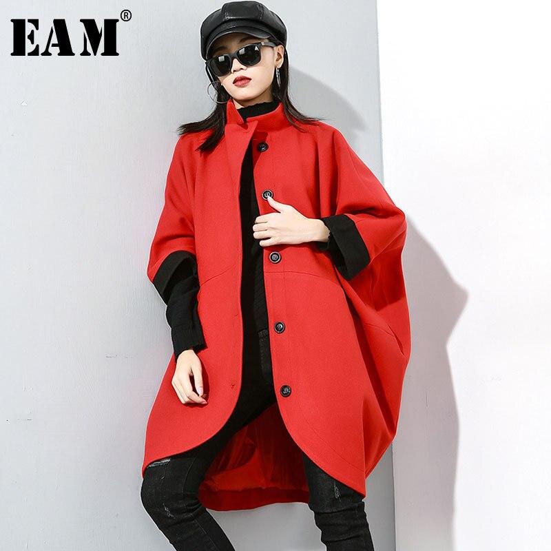 [EAM] coupe ample rouge grande taille manteau en laine Parkas nouveau trois-quarts manches chauve-souris femmes mode marée automne hiver 2019 19A-a798
