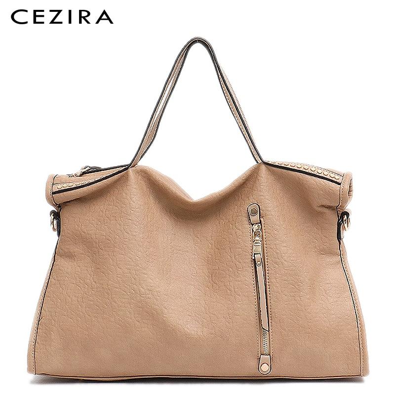 CEZIRA Large Women Tote Designer Handbag Carry Shoulder Bag Vintage Rivets Handbag Female Zipper Pu Leather Messenger Purse Bag