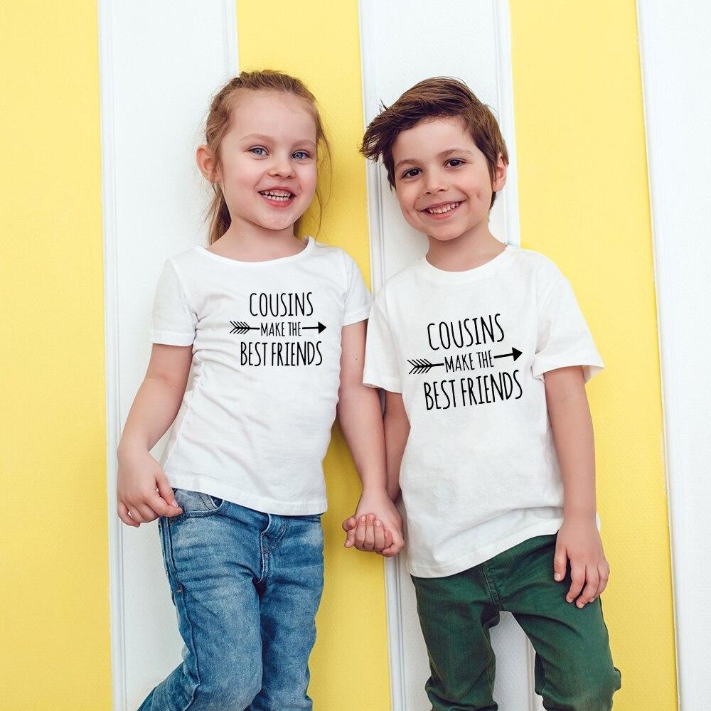 Детская футболка Cousins Make The Best Friends, футболка для мальчиков и девочек, вечерние Забавные футболки, модная детская одежда, Прямая поставка