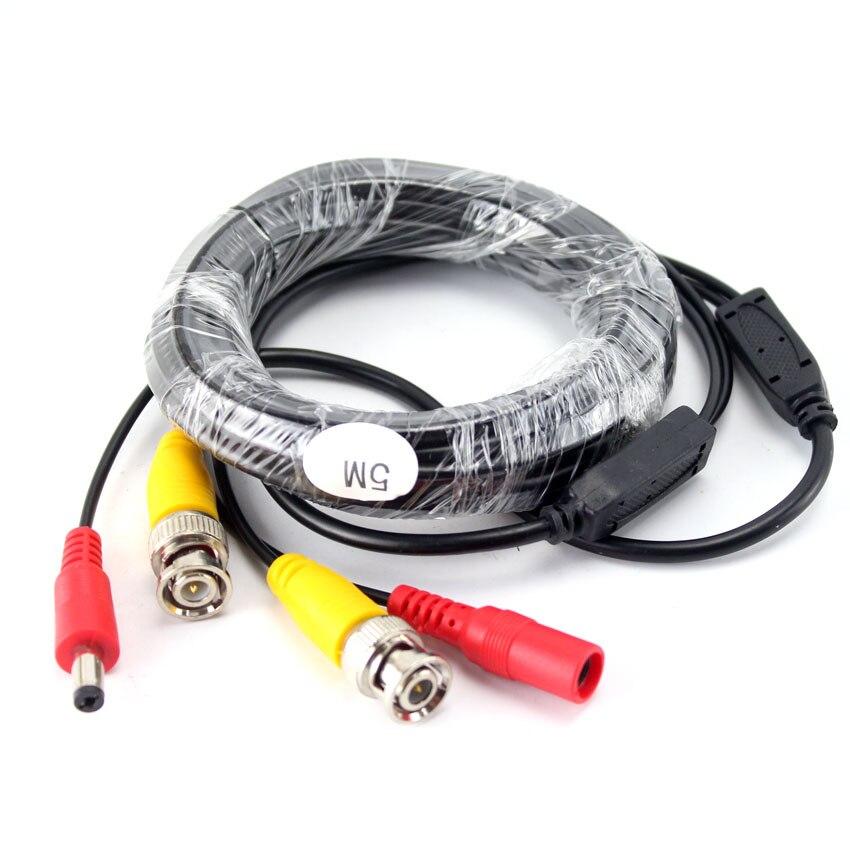 SMTKEY, 5m, Cable BNC de alimentación CCTV, vídeo BNC + Cable con enchufe cc 5 metros para AHD,CVI,TVI ,CVBS CAnalog, sistema de vigilancia de cámara Superbat, Radio Móvil para vehículo/coche VHF/UHF, antena de doble banda 9cm, Base magnética, conector macho BNC de 5M, Cable para escáner BC125AT