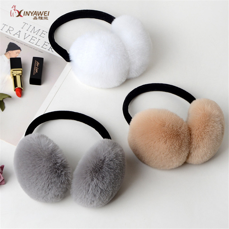 Best Selling Wife Rabbit Fur Earmuffs Ladies Rabbit Fur Ears Cute Christmas Gifts Ear Warm Winter Warm Unisex Earmuffs.