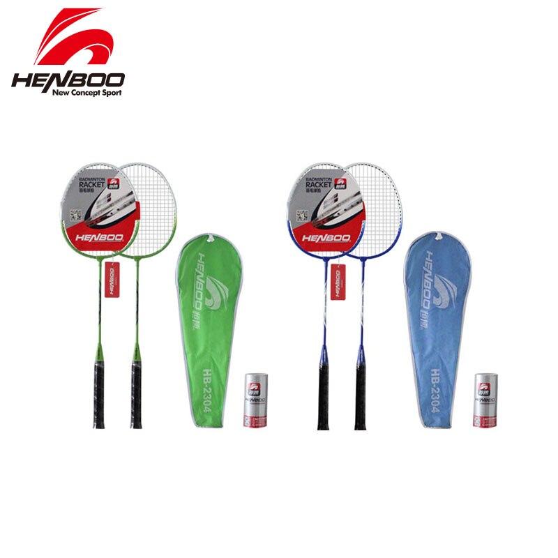 HENBOO Iron Alloy Badminton Racket Set Family Double Professional Badminton Racket Lightest Durable Standard Use Badminton 2312