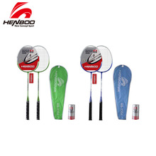 купить HENBOO Iron Alloy Badminton Racket Set Family Double Professional Badminton Racket Lightest Durable Standard Use Badminton 2312 по цене 1139.79 рублей