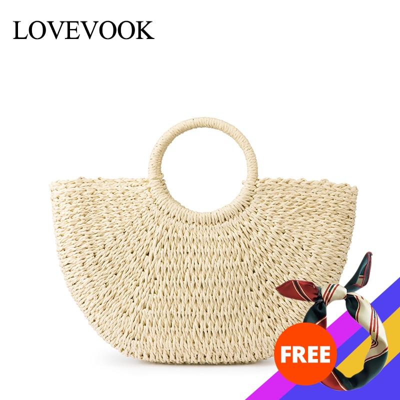 Lovevook Women Straw Bags Summer Beach Bag For Travel Female Handmade Woven Rattan Bags Luxury Handbags Women Designer Bohemia