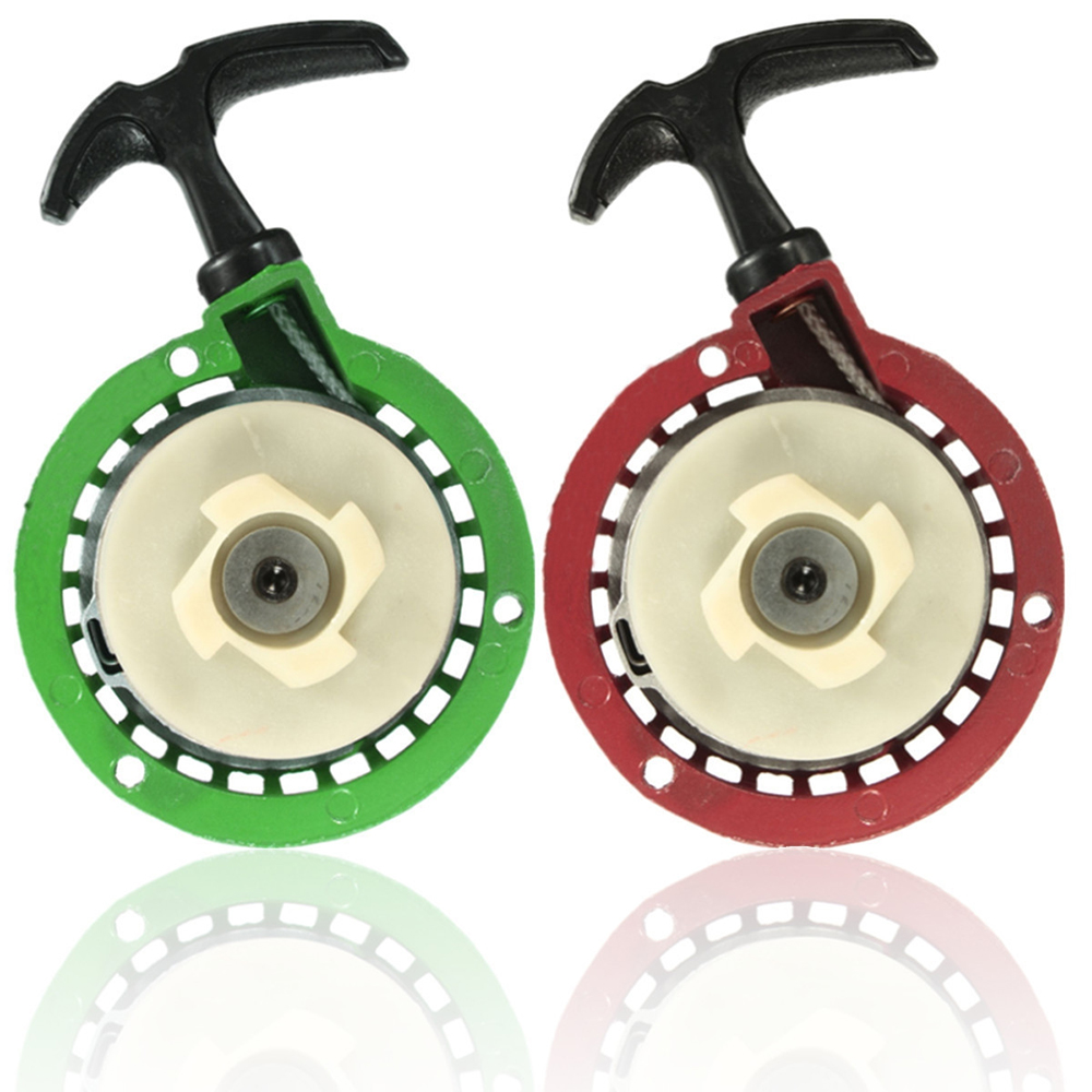 Rouge/vert métal Pullstarter pour 49cc Mini Quad Dirt Bike plage moto Pull Start assemblage moto botte plateau