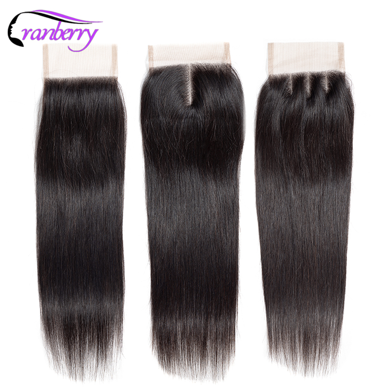 Cranberry Hair Straight Hair Lace Closure 8-20 Inches Natural Color Remy Human Hair Closure Peruvian Hair Can Be Dyed Free Ship