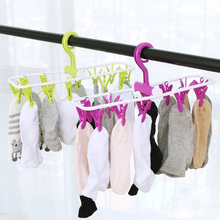 Travel Folding Cloth Hanger Premium Drying Drip Hanger Clothespins Clothes Drying Rack with 12 Clips
