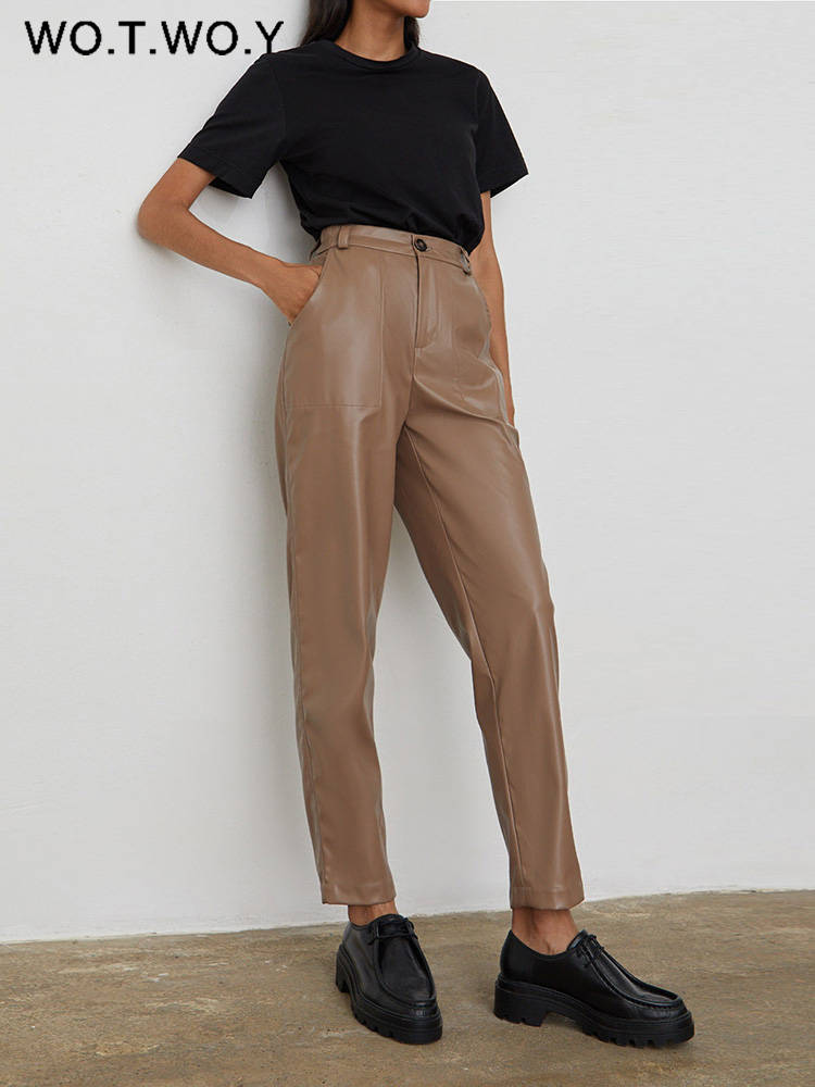 Trousers Pants Zipper-Up Fleece Black White High-Waisted WOTWOY Straight Casual Women