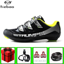 цена на Tiebao road cycling shoes sapatilha ciclismo add pedal set bike men racing professional athletic bicycle shoes cycling sneakers