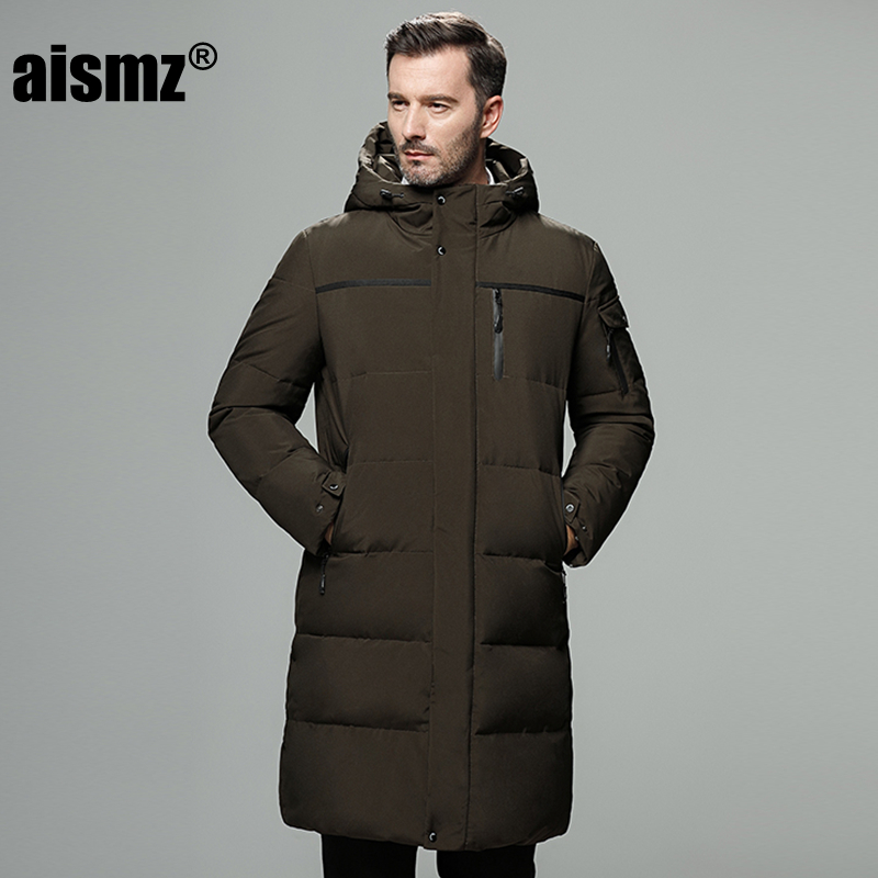 Aismz Casual Business long   down     coat   men thick thermal 90% white duck   down   jacket men winter jacket for men -40 degree size 5XL