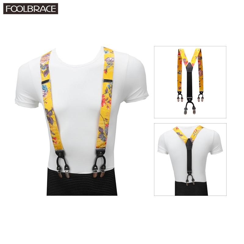 3.5cm Width Men Suspenders Fancy Print Party Wedding 6 Clips Pre-tied Silk Material Y Shape Adjustable Braces