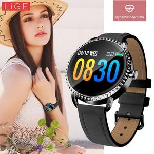 Image 2 - LIGE nowy 1.0 cal moda kobiety inteligentny zegarek mężczyźni wodoodporna pulsometr kalorii Smartwatch kobiety dla android ios iPhone