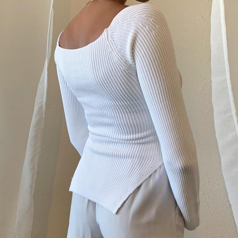 Maglioni donna manica lunga collo quadrato Pullover lavorato a maglia donna primavera autunno maglione inverno top per donna maglione bianco nero 2