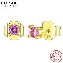 ELESHE Classic Round Pink Zircon Crystal Earrings for Women 925 Sterling Silver Stud Earrings Gold Jewelry Party Christmas Gift(China)