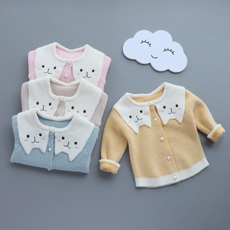 Girls Cardigan Sweater Mink Cashmere 2019 Autumn Fold-down Collar Bear Crew Neck Long Sleeve Baby Sweater