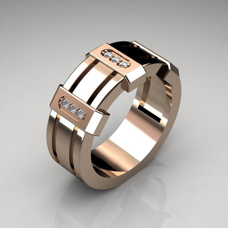 Rose Gold Color Mens Ring Luxury AAA+ Cubic Zirconia Statement Men Wedding Jewelry Dropshipping