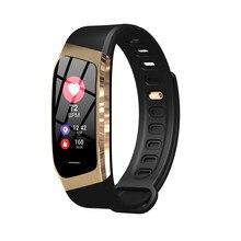 E18 pulseira inteligente, com monitor de pressão arterial, frequência cardíaca, atividade fitness, rastreador, relógio inteligente, a prova d' água, unissex, esportivo, pulseira