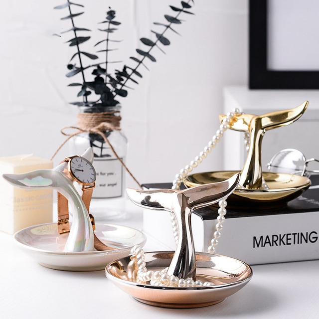 Ceramic Tray For Jewelry Organizer Decorative Rose Gold Living Room Decoration Home Tray With Fish Tail Tabletop Decor Plate