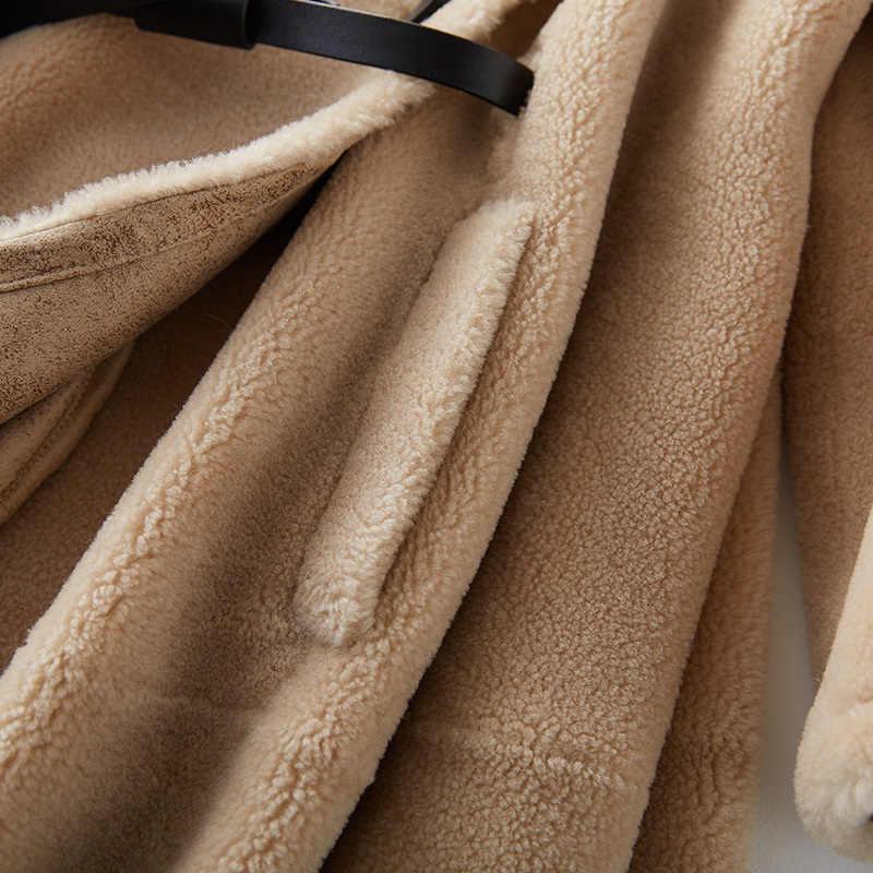 2020 kadın kış koyun kesme gerçek kürk ceket bayanlar rahat sıcak doğal kuzu yün kürk ceket kadın deri kemer YQ385