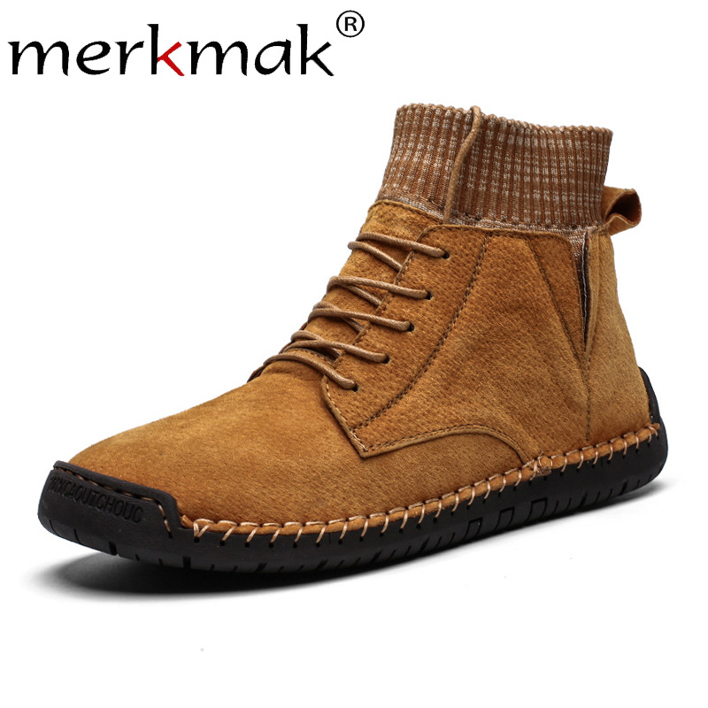 Merkmak 2019 Winter Warm Snow Men's Boots Lace Up Autumn Casual Leather Men Shoes Outdoor Boots Man Large Size 48 47 46 Man Flat