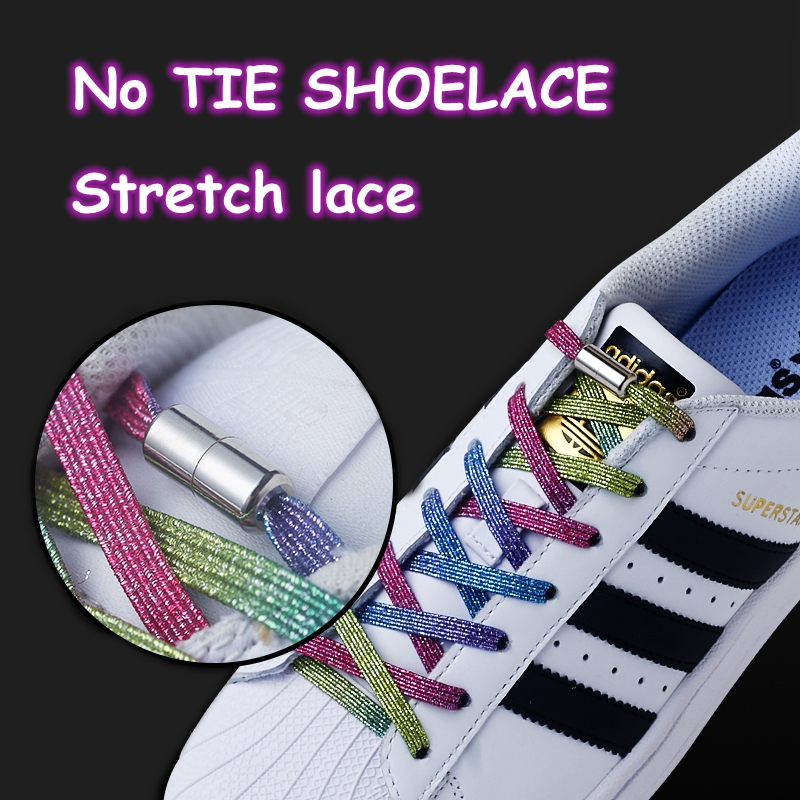New Elastic Locking Shoelaces Flats No Tie Shoelace Quick Sneakers Locking Shoe Laces Kids Adult Women Men Shoes Lace Strings