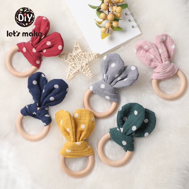 Let's Make 1PC Baby Bunny Eer Cotton BPA Free Beech Wooden Rodent Animal Bee Teething Toys Baby Nursing Bracelet Wood Teether